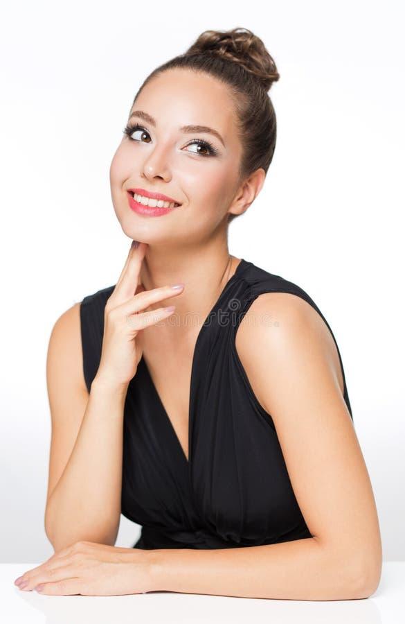 Brunette in elegant makeup stock image
