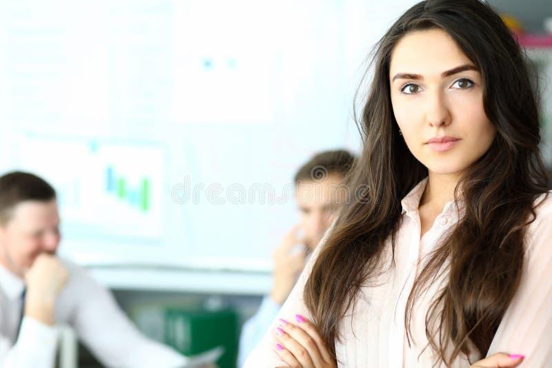 Smart brunette manager stock image