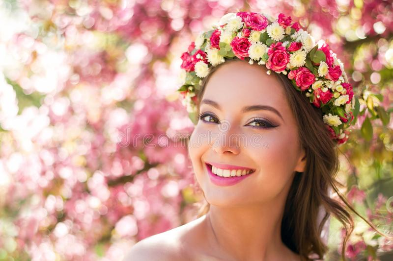 Gorgeous spring makeup woman. Portrait of a gorgeous spring woman outdoors in nature stock images
