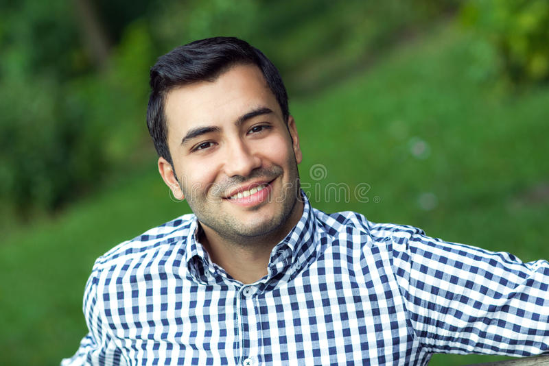 Portrait of gorgeous young smile man. Smile young man, close up of gorgeous guy, outdoor royalty free stock images