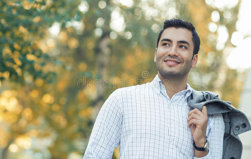 Portrait of gorgeous young smile man stock images