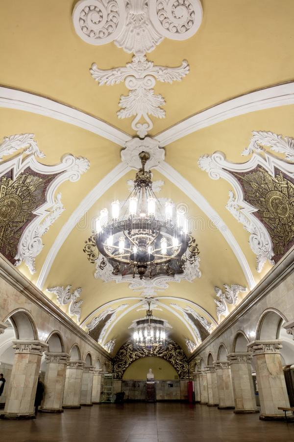 Portrait of Grand Chandelier in beautiful metro station at Moscow royalty free stock image
