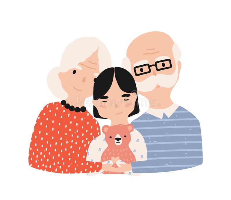 Portrait of grandfather, grandmother and granddaughter. Grandma and grandpa embracing their grandchild. Adorable cartoon. Characters isolated on white royalty free illustration