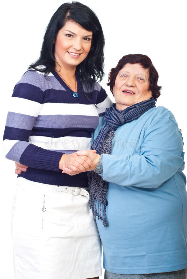 Portrait of grandma with granddaughter stock images