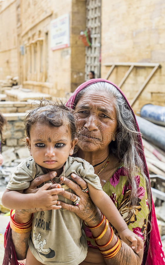 Portrait of a Grandmother and her grandson at Jaisalmer, Rajasth royalty free stock image