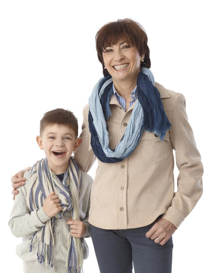 Portrait of granny and grandson smiling happy royalty free stock images