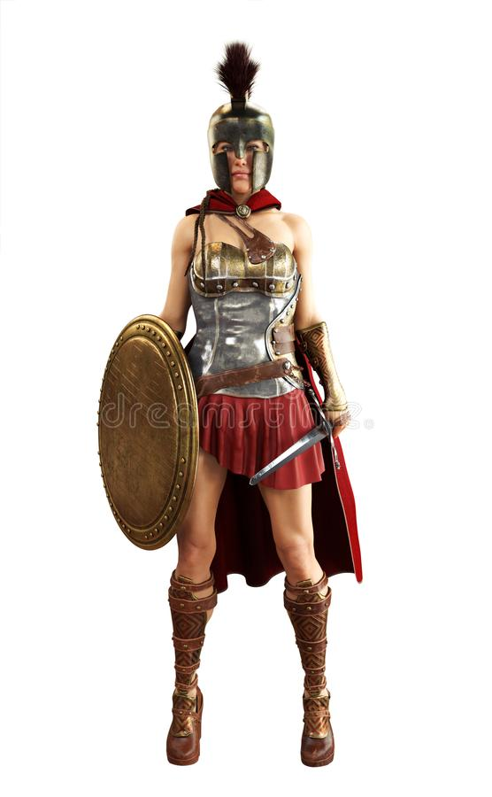 Portrait of a Greek Spartan female warrior equipped for battle with a sword and shield on a white isolated background. vector illustration