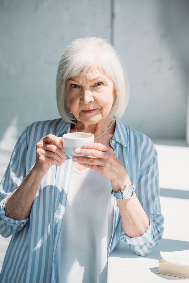 portrait of grey hair woman royalty free stock photo