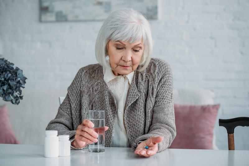 portrait of grey hair woman stock images