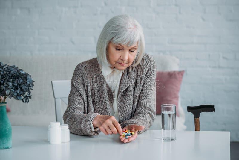 portrait of grey hair woman stock image