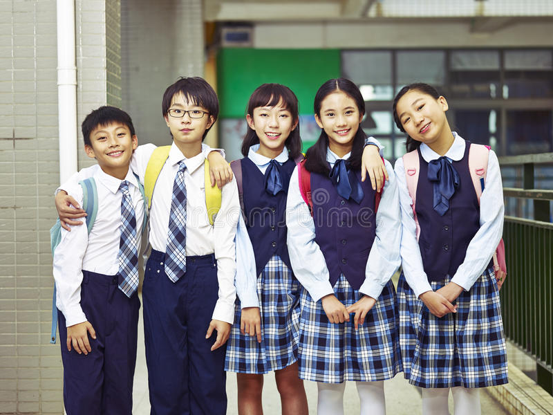 Portrait of a group of asian elementary school children stock images