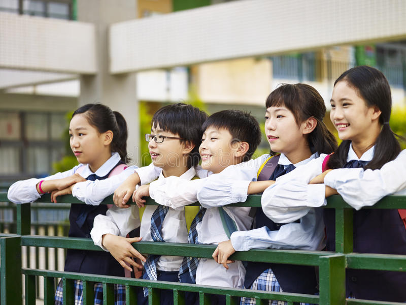 Portrait of a group of asian elementary school children stock photos