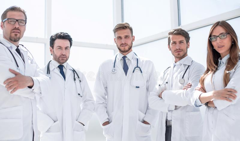Portrait of a group of doctors of the medical center royalty free stock photos