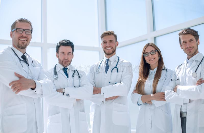 Portrait of a group of doctors of the medical center stock image