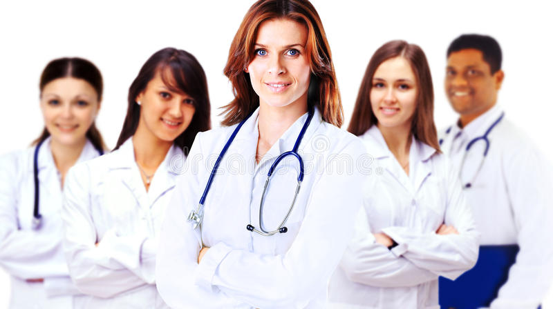 Portrait of group of smiling hospital colleagues stock photography