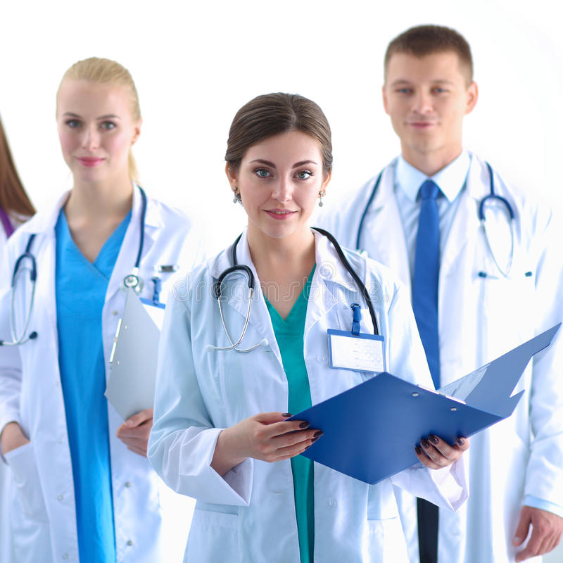 Portrait of group of smiling hospital colleagues standing together.  royalty free stock photography