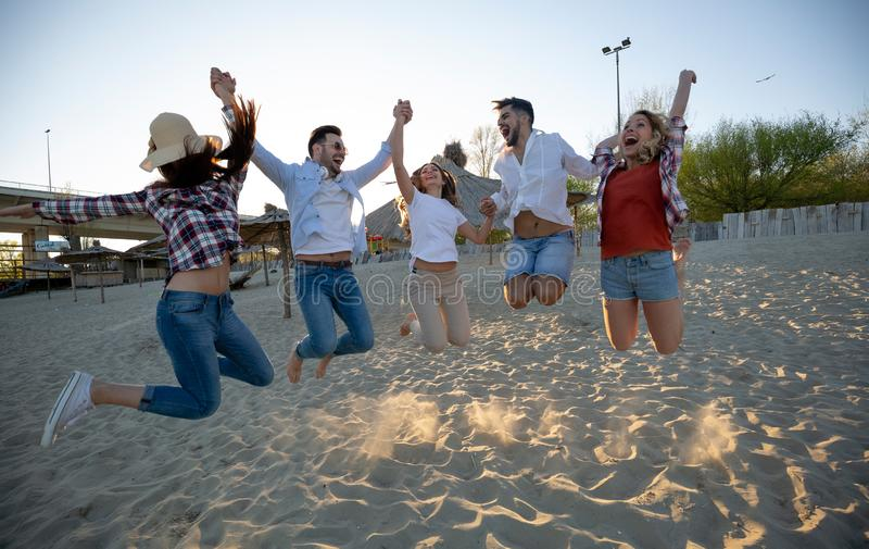 Portrait of group of young friends having a party royalty free stock photography