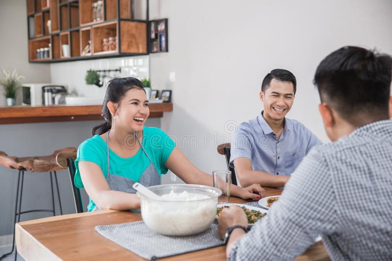 Group of asian people having lunch royalty free stock image