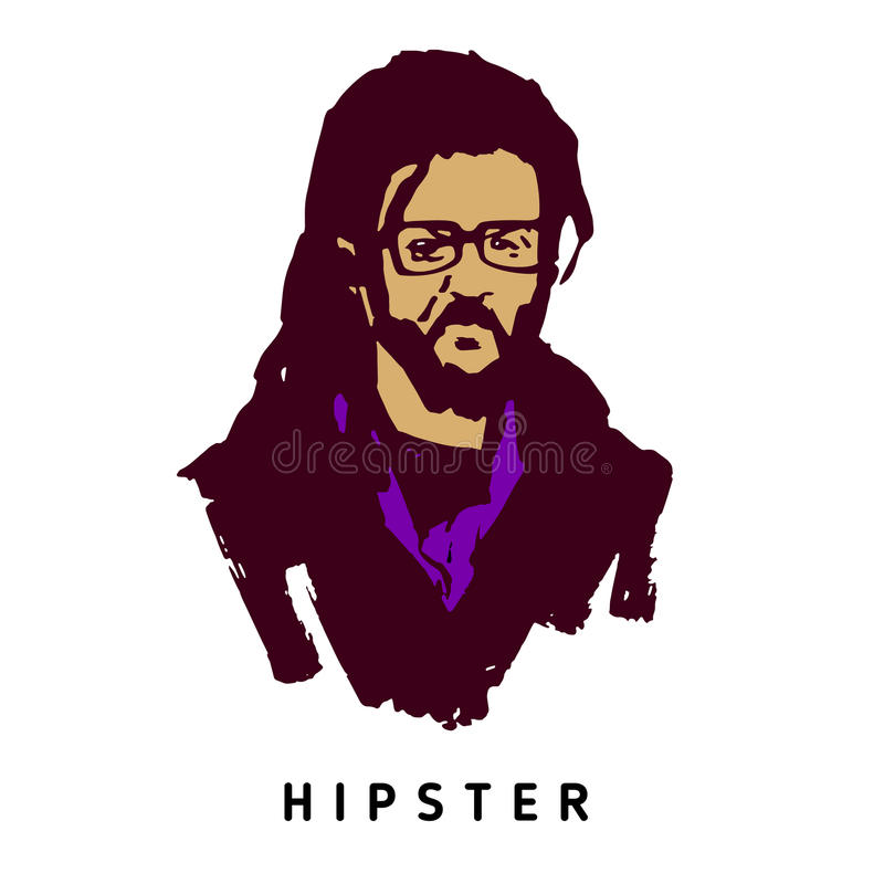 Portrait grunge d'un homme dans le style de hippie Dessin d'encre de main illustration libre de droits