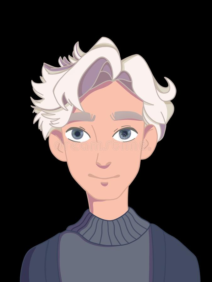 Portrait of a guy with white hair vector illustration