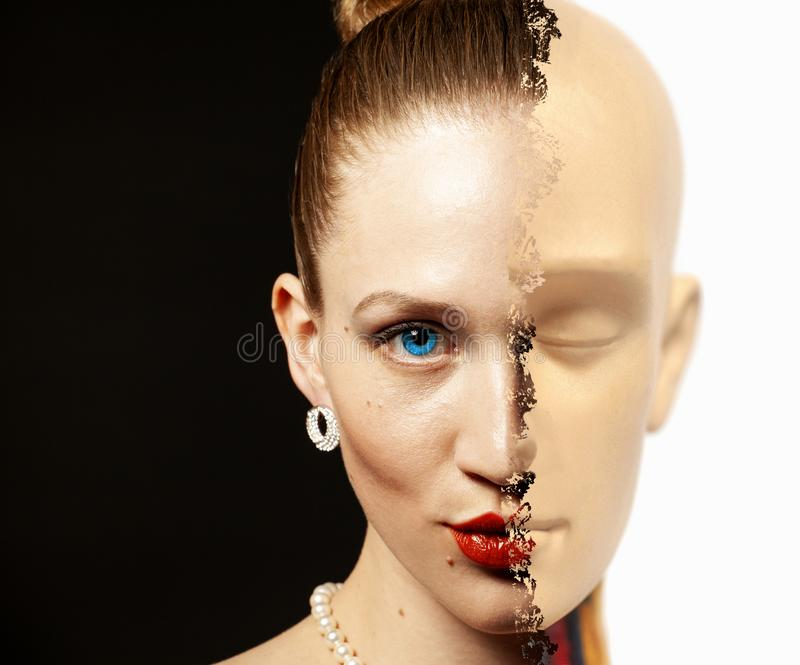 Portrait of half woman`s face transformed is human head anatomy model. Black and white stock photos