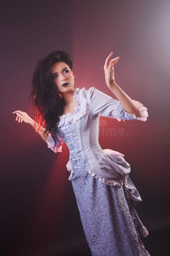 Portrait of halloween vampire woman aristocrat with stage makeup royalty free stock photo