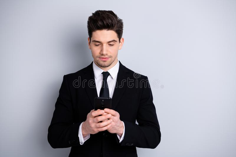 Portrait handome youth representative colleague entrepreneur seracin gnews have communication information decide solve. Wrokplace problems think thoughtful royalty free stock photography