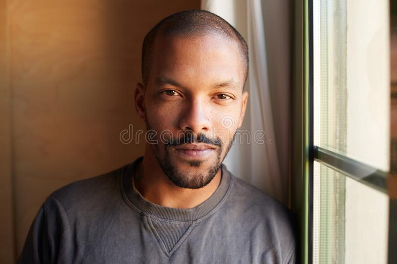 Portrait of HANDSOME african black man. Horizontal royalty free stock images