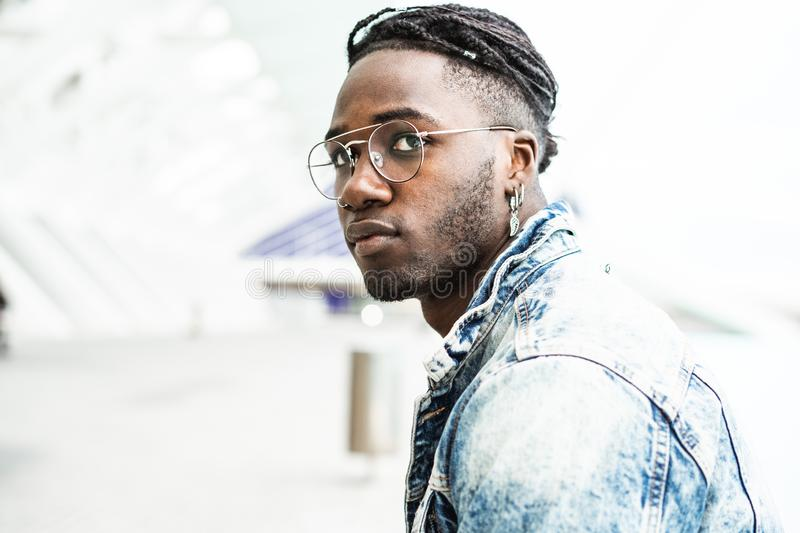 Portrait of handsome hipster african man. Lifestyle concept royalty free stock photo