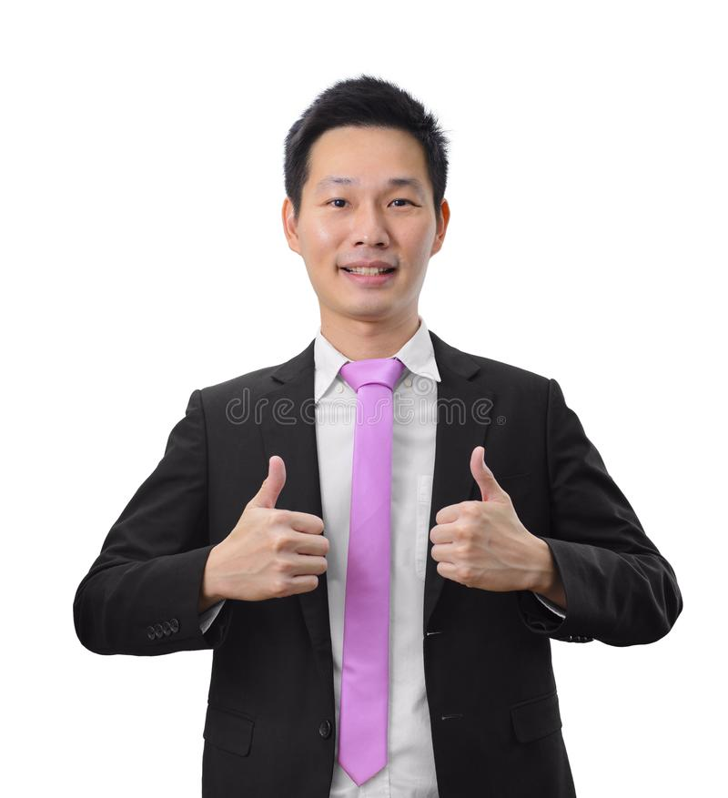 Portrait handsome asian business man giving double thumb up stock photos