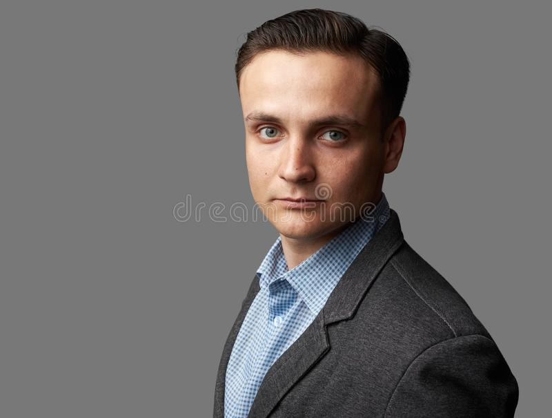 Portrait of handsome attractive guy wearing shirt and jacket isolated royalty free stock images