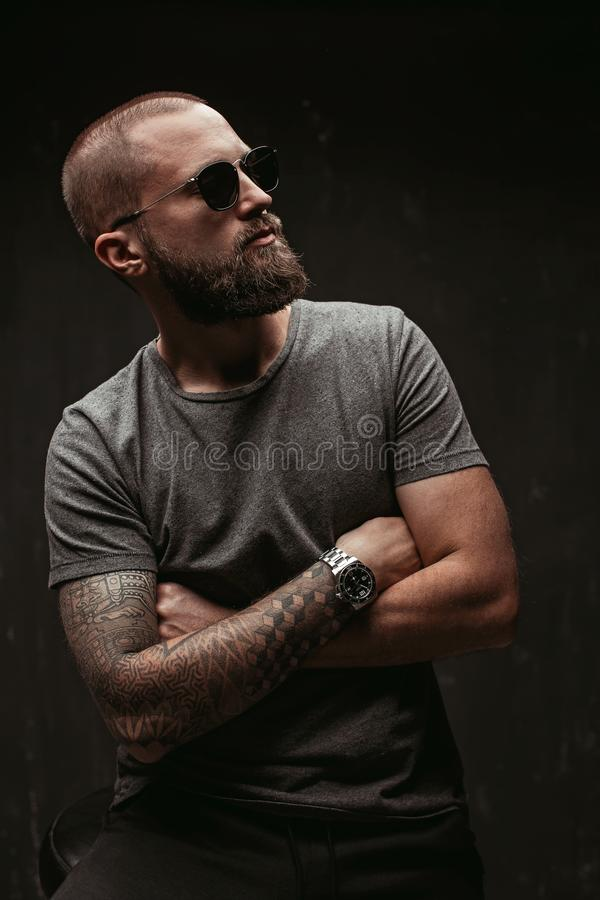 Portrait of a handsome balded man with long well trimmed beard wearing sunglasses and grey shirt looking away to side stock photography