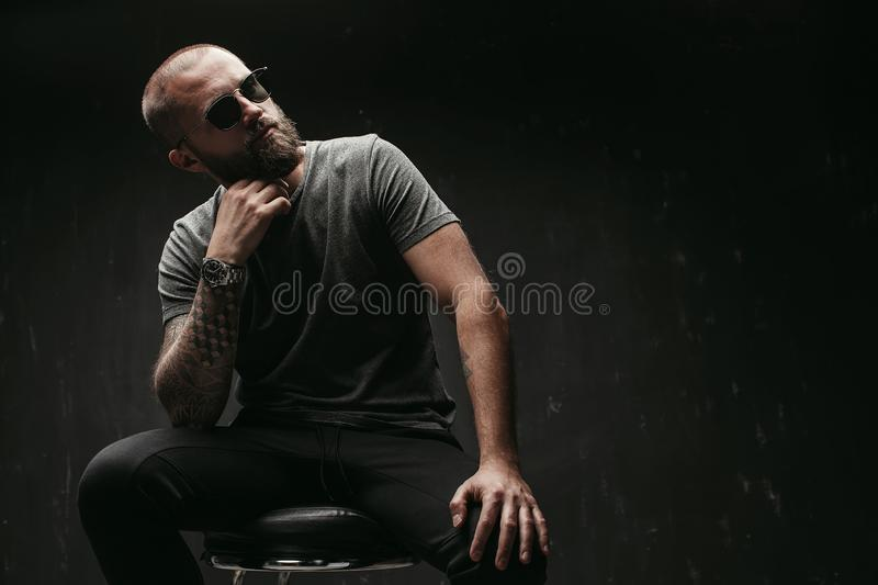 Portrait of a handsome balded man with long well trimmed beard wearing sunglasses and grey shirt looking away to side royalty free stock photography