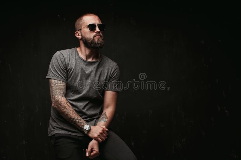 Portrait of a handsome balded man with long well trimmed beard wearing sunglasses and grey shirt looking away to side royalty free stock images
