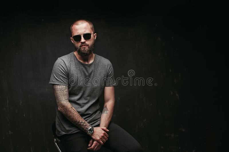 Portrait of a handsome balded man with long well trimmed beard wearing sunglasses and grey shirt looking at camera stock photography