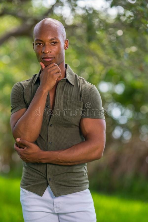 Portrait of handsome black model posing with hand under chin. Image taken at a park scene stock photo