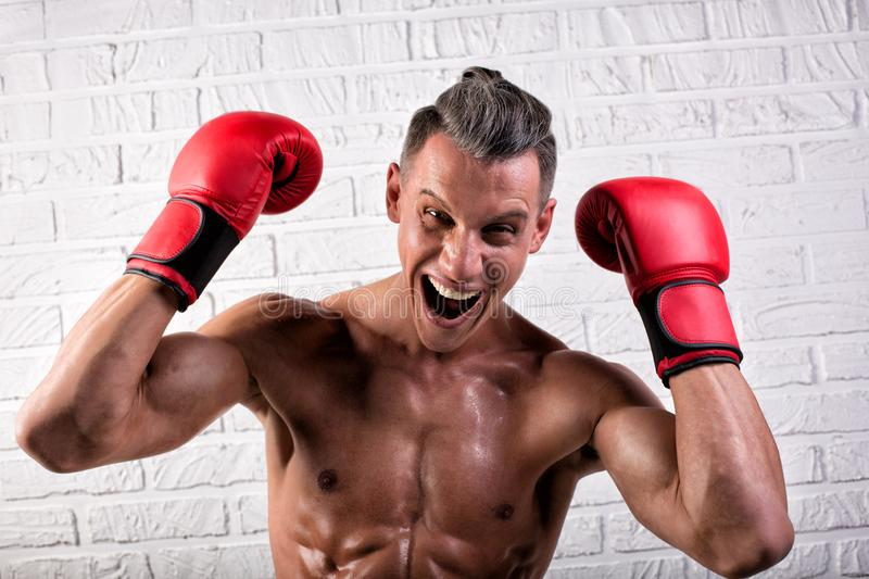 Portrait of handsome boxer man standing on the bric wall and looking at camera with intense gaze. Portrait of handsome boxer man standing on the wall and looking royalty free stock images