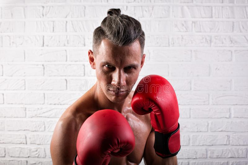 Portrait of handsome boxer man standing on the bric wall and looking at camera with intense gaze. Portrait of handsome boxer man standing on the wall and looking royalty free stock image