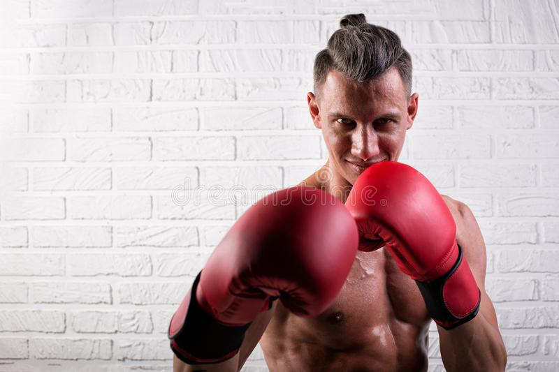 Portrait of handsome boxer man standing on the bric wall and looking at camera with intense gaze. Portrait of handsome boxer man standing on the wall and looking stock image