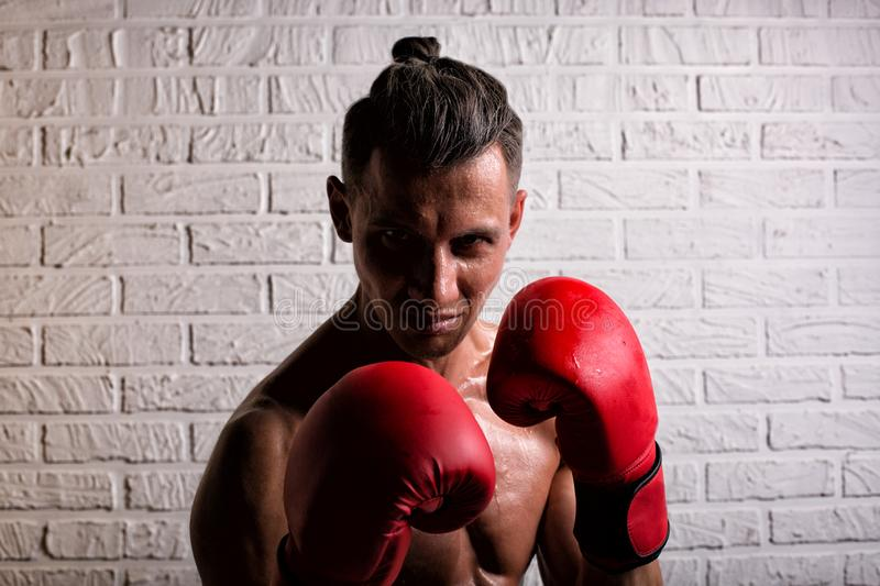 Portrait of handsome boxer man standing on the bric wall and looking at camera with intense gaze. Portrait of handsome boxer man standing on the wall and looking stock photo