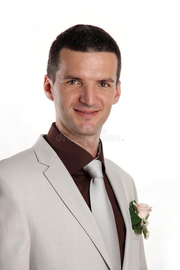 Portrait of handsome bridegroom royalty free stock photos