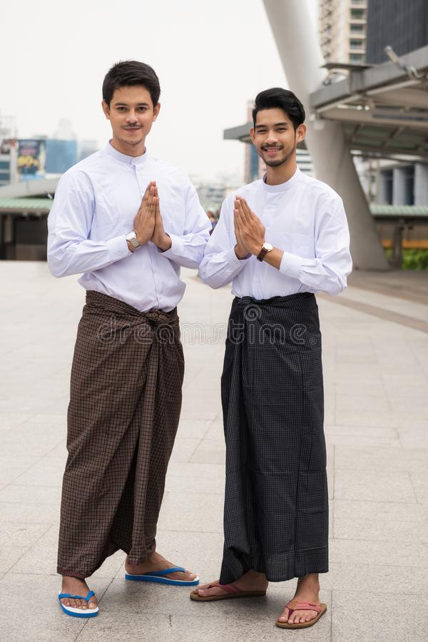 Burmese business men welcome hand sign royalty free stock photos