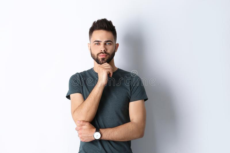 Portrait of handsome confident man isolated stock photos