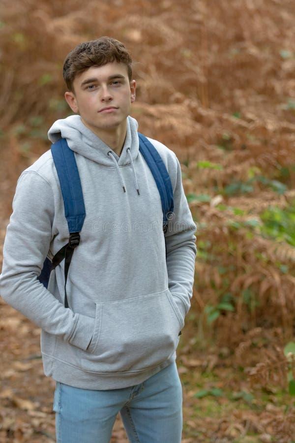 18 Year Old Teenage Boy Outside Stock Photo