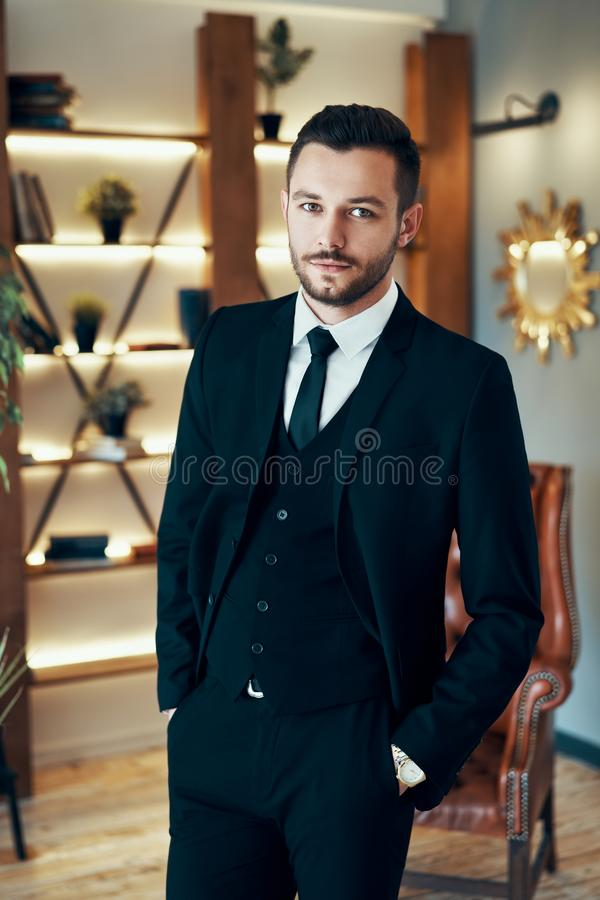 Portrait of handsome elegant man in suit in modern interior royalty free stock images