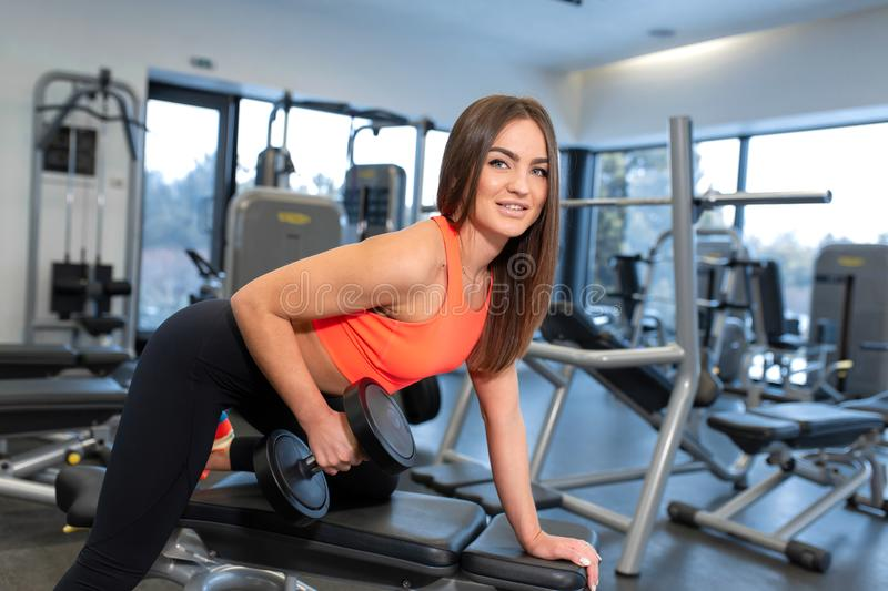 Portrait handsome fit woman lifting dumbbells on bench at gym royalty free stock photo