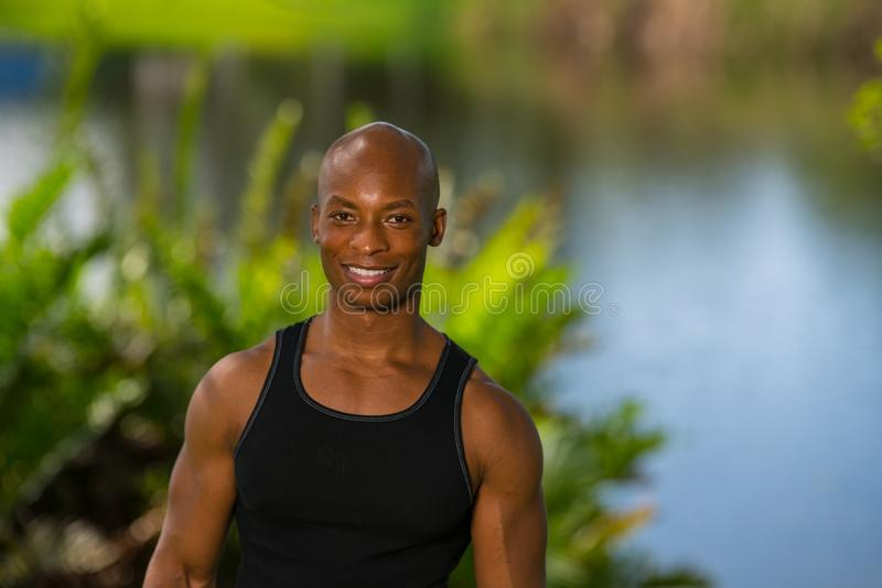 Portrait of a handsome fitness model royalty free stock photo