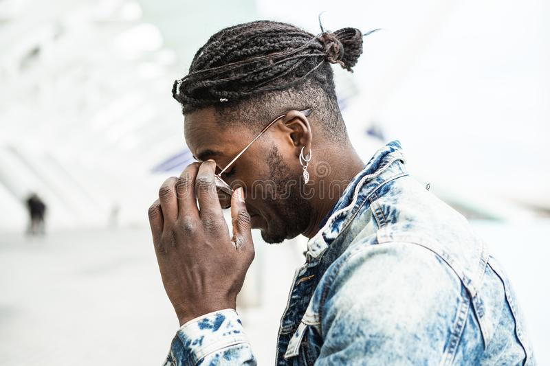 Portrait of handsome hipster african man. Lifestyle concept stock photography