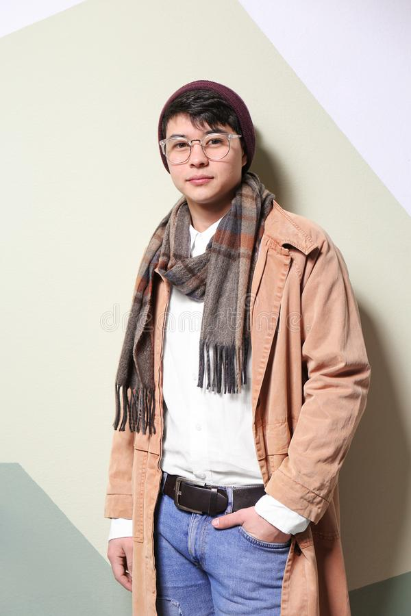 Portrait of handsome hipster in stylish outfit stock image