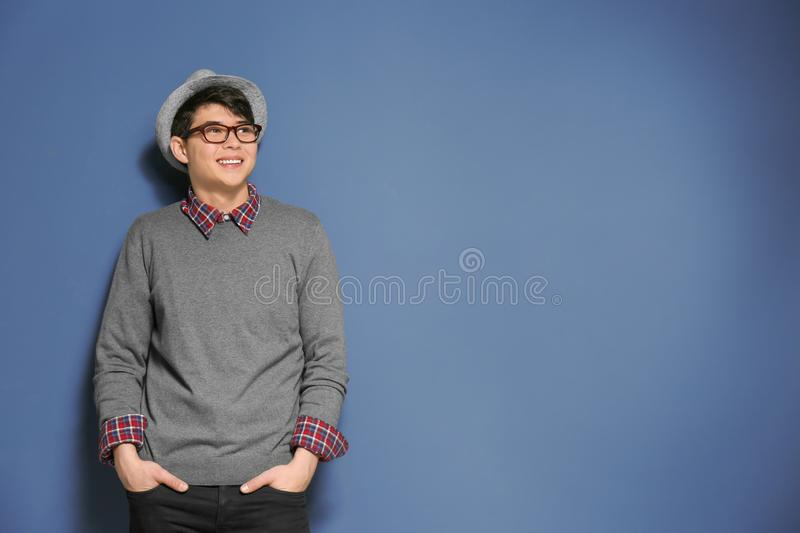 Portrait of handsome hipster in stylish outfit royalty free stock images